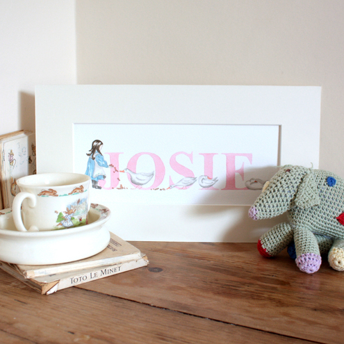 Personalised Little Girl Name Painting in Pink(6-10 letters)