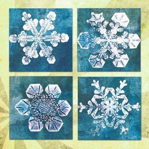 digital collage sheets snowflakes
