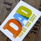 Letterpress Father's Day card from Print For Love of Wood