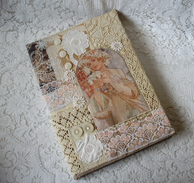 Fabric Book Cover Template : A vintage style journal or sketchbook folksy