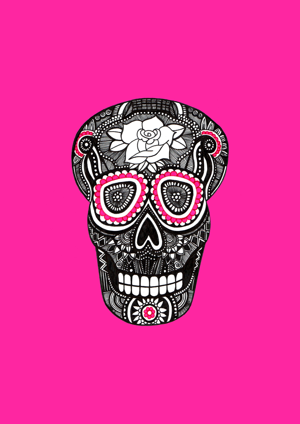 Pink Sugar Skull, by Kelly Merrell Designs