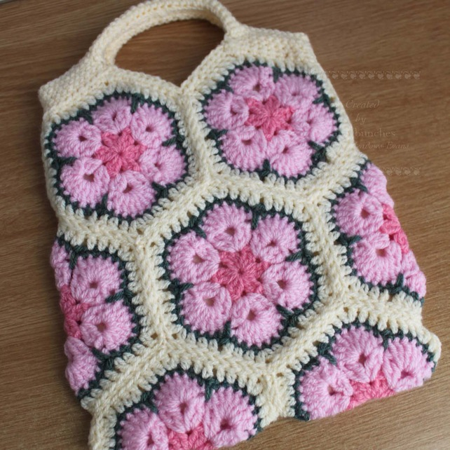 Pink And Cream Crochet African Flower Bag Folksy Craftjuice