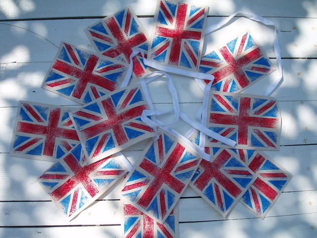My Blue Shed - Hand Printed Union Flag Bunting