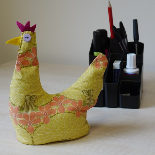 desk tidy with clock. Brighten up your desk with this funky hen made to my own design.