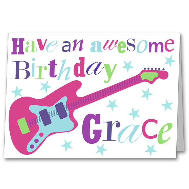 Girls guitar personalised birthday card folksy craftjuice girls guitar personalised birthday card folksy bookmarktalkfo Choice Image