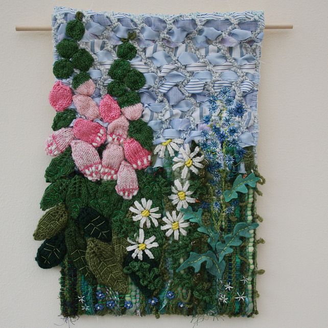 Foxgloves And Daisies Textile Wall Hanging Folksy