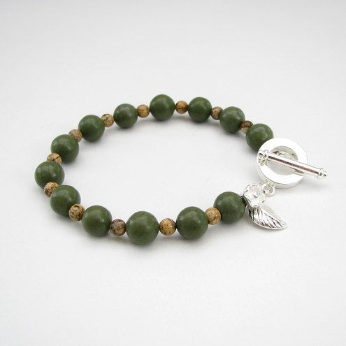 Green and Picture Jasper bracelet, by BedazzleEm by Emma