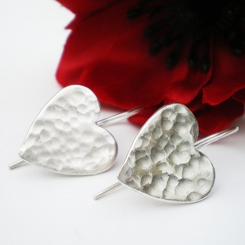 Silver Love Heart Textured Earrings