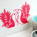 Sing Thrushes in Scandinavian red hand-pulled Gocco print from Dee Beale