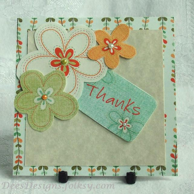Handmade Thank You Card Floral Trio Folksy Craftjuice Handmade