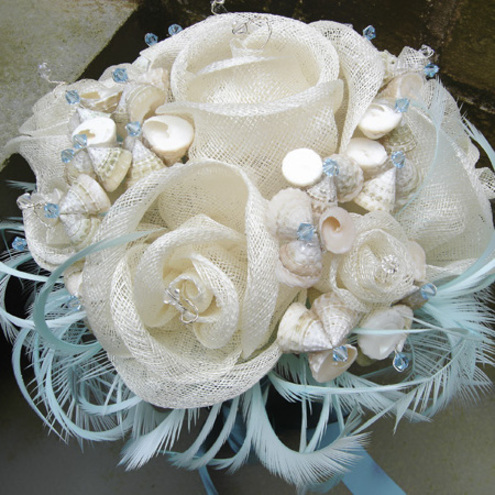 FREE SHIPPING CALYPSO Ivory and Aqua BRIDAL BOUQUET SINAMAY SEASHELLS