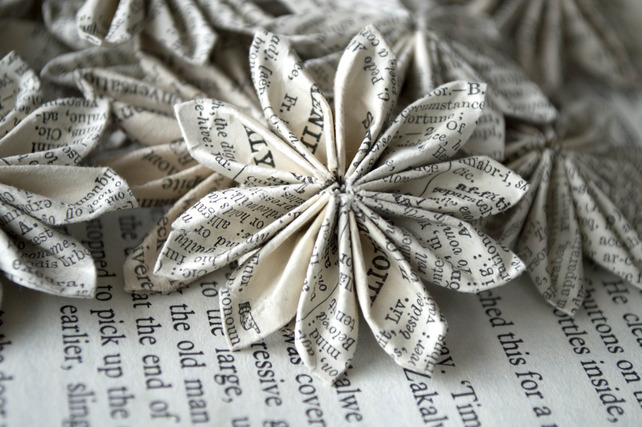 4 medium handmade paper flowers from vintage books folksy 4 medium handmade paper flowers from vintage books folksy mightylinksfo