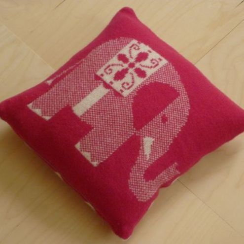 Sally Nencini - Lambswool pink elephant cushion