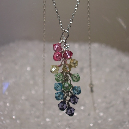 Rainbow Cascade sterling silver necklace, by sparkling lemondrop