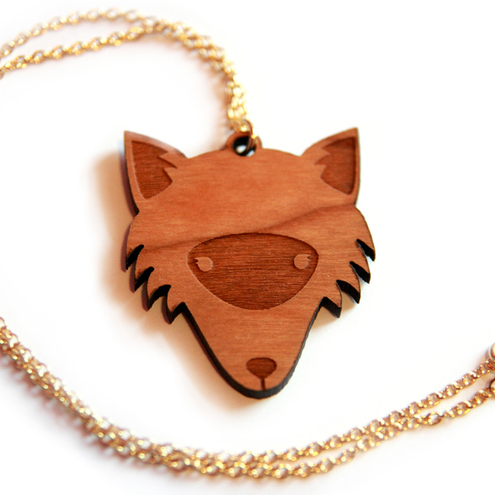 Finest Imaginary - Wooden Fox Necklace