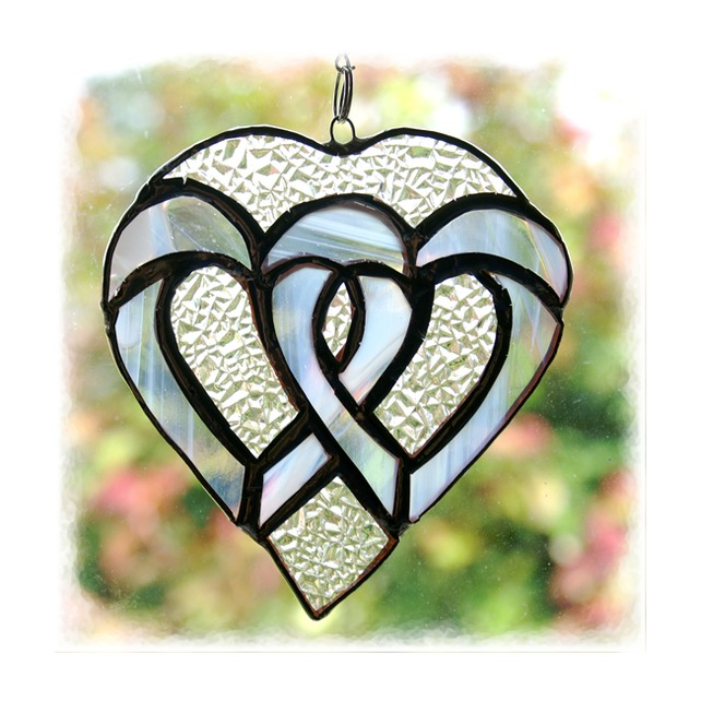 Wedding hearts stained glass suncatcher silver folksy