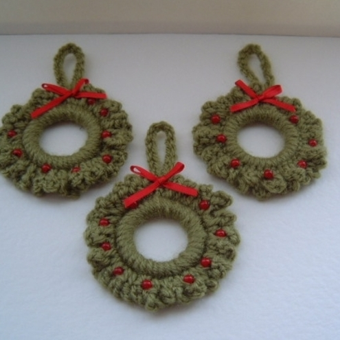 Crochet Christmas Wreath Ornament Patterns Free Crochet Patterns