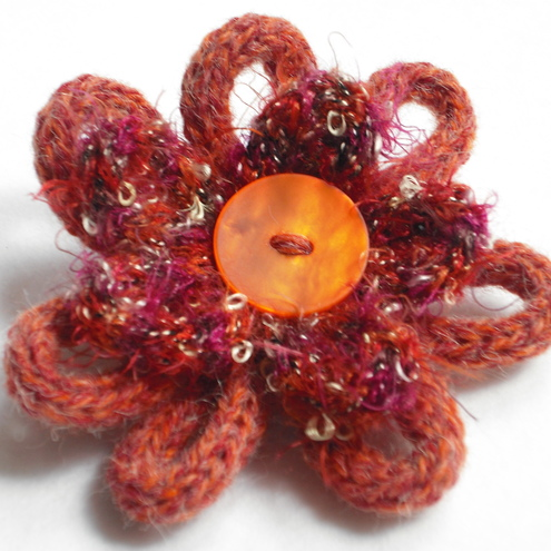 Sarah Elizabeth Designs - Orange Button Loopy Corsage