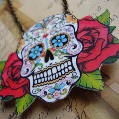 Sugar Skull day of the dead tattoo necklace Big Rockabilly Psychobilly