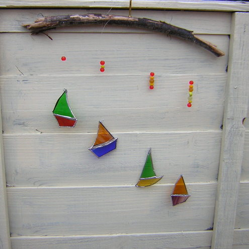 Folksy buy stained glass and driftwood boat mobile for How to make stained glass in driftwood