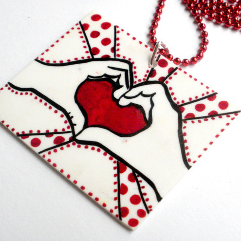 Love heart in hands kitsch quirky pop art style necklace