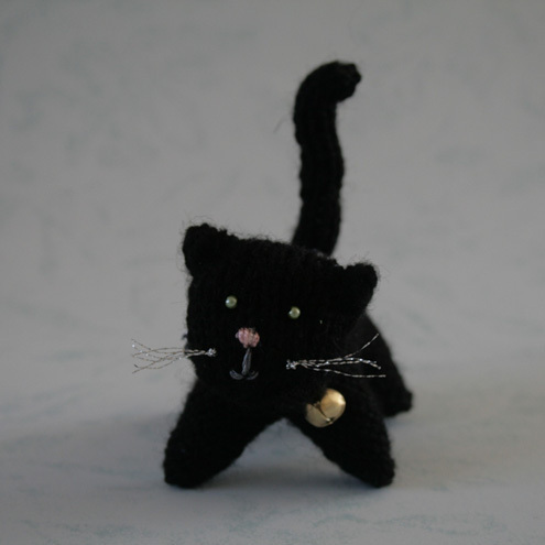 Cute Lucky Black Cat with Bell and Collar