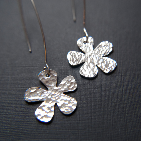 Beaten Silver Earrings - Handmade