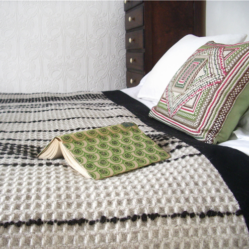 Hand-Woven Throw - Grey British Herdwick Wool Honeycomb Throw