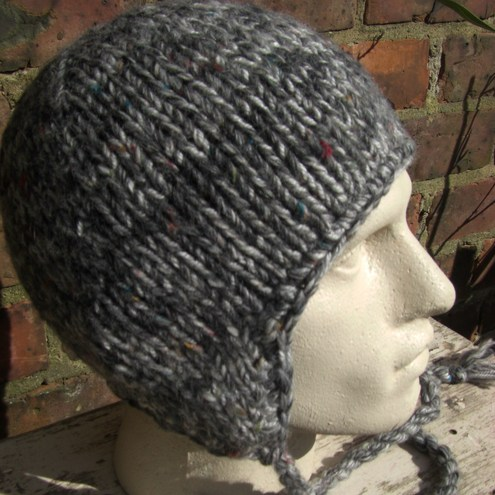 Earflap Wool Cap. men#39;s earflap hat grey tweed