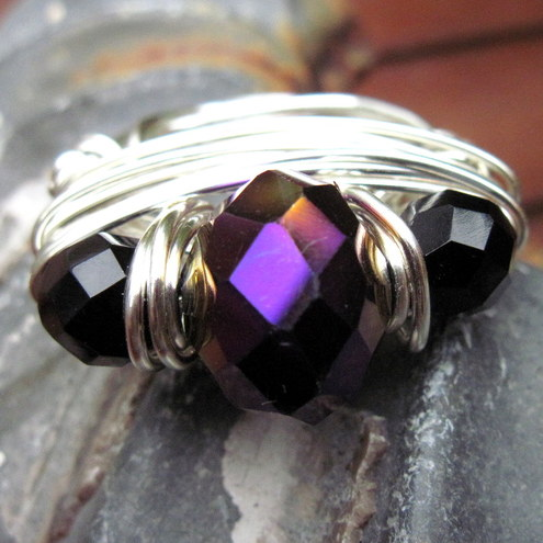 silver ring iris. Dark Iris Wire Wrapped Ring