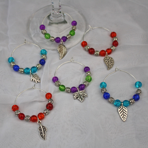 Brights & Delights - Leaves wine glass charm