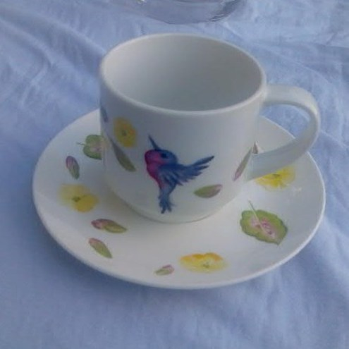 Bluebird Crafts - hand painted cup & saucer