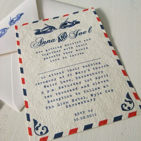 50 Vintage Airmail Wedding Invitations and RSVP cards