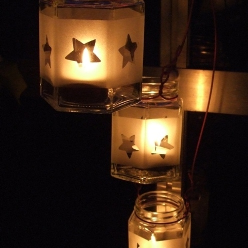 Glass Jar Lantern- Stars