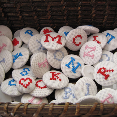 Handmade Cross Stitch Button