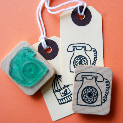 She Draws - Vintage Phone Illustration Stamp