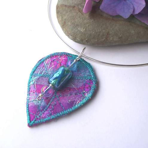 Aileen Clarke Crafts - Textile Leaf Shaped Necklace