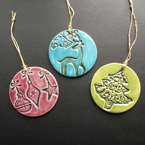 folksy buy ceramic christmas decorations set of three - Ceramic Christmas Decorations