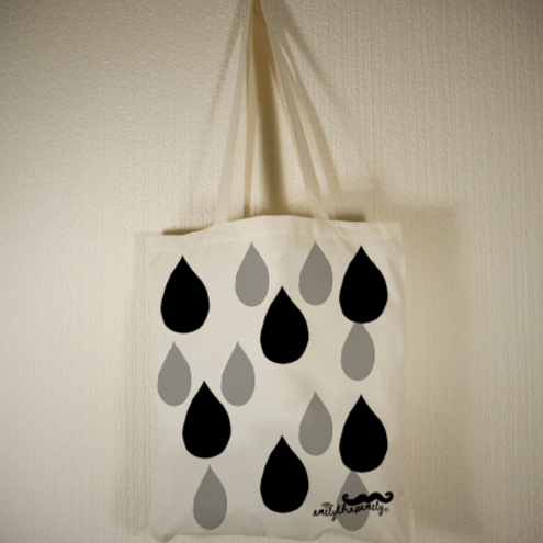 Raindrop Tote Bag Black/ Grey by EmilythePemily