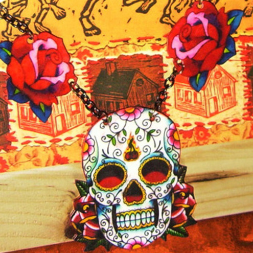 "Folksy :: Buy ""Sugar skull tattoo rose necklace Mexican day of the dead"