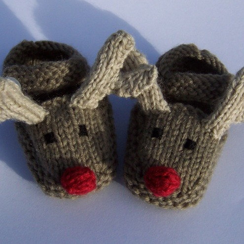 Hand knitted rudolph the reindeer baby booties / slippers £9.00 - LittlePudding