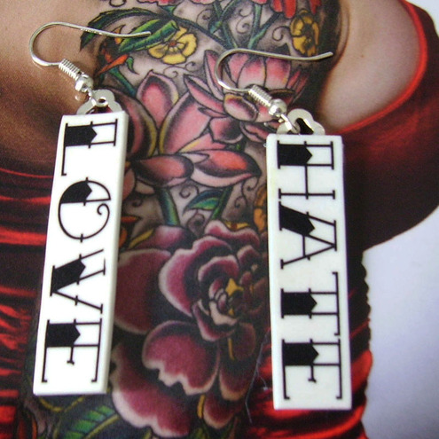 """EARRINGS love and hate old school traditional tattoo lettering earrings"""""""