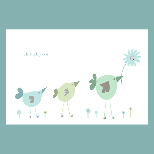 Molly Moo Designs - little birds thank you card