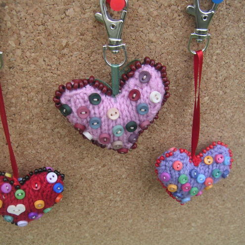 Lavender knitted heart bag charm