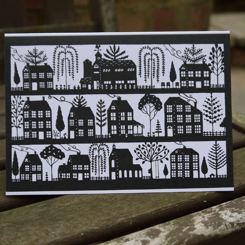Folk Art Papercuts by Suzy Taylor - FolkArt Houses Papercut -card