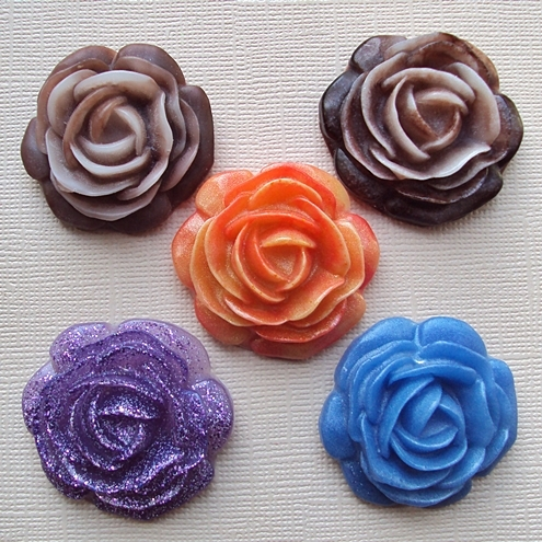 handmade resin flower pendants - with hidden loop on back