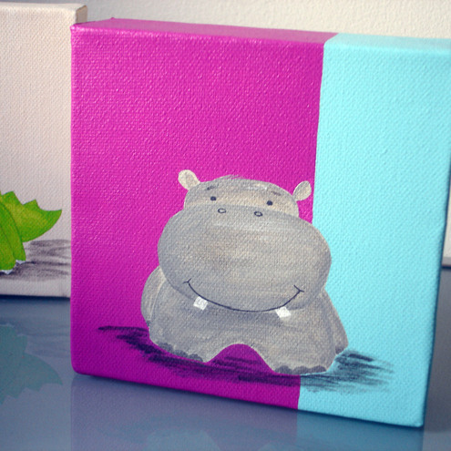DitsyBird Designs - Hippo Acrylic on Canvas