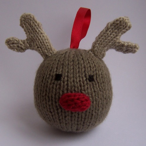 Hand Knitted Rudolph the Reindeer Bauble