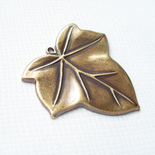 Antique gold brass leaves charm
