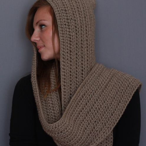 Folksy Buy Hooded Scarf In Beige Craftjuice Handmade Social Best Free Hooded Scarf Crochet Pattern